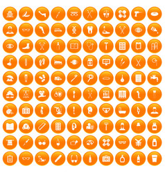 100 disabled healthcare icons set orange vector