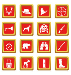Hunting icons set red vector