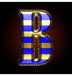 Golden and blue letter b vector