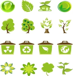 Green nature icons set vector