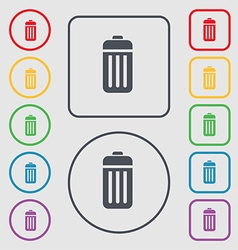 The trash icon sign symbol on the round and square vector