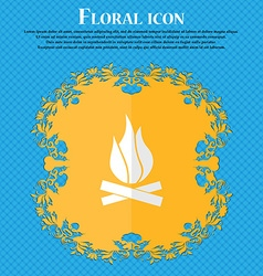 A fire floral flat design on a blue abstract vector