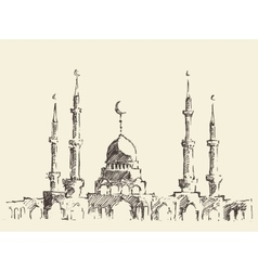 Mosque vintage hand drawn sketch vector