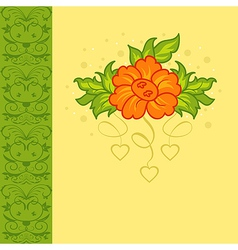 Romantic card with flower - vector