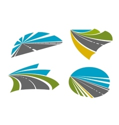 Speedy highway roads icons for traveling design vector