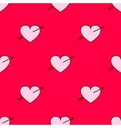 Valentines hearts with arrows seamless vector