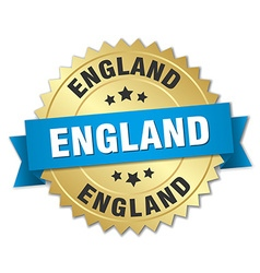 England round golden badge with blue ribbon vector
