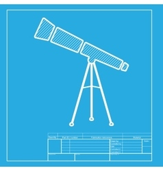 Telescope simple sign white section of icon on vector