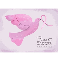 Pink dove for breast cancer awareness vector