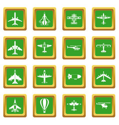 aviation icons set green vector image