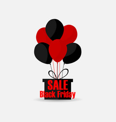 black friday gift box with balls of red and black vector image