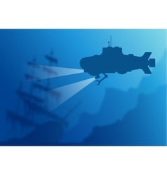 Blurred underwater background with submarine vector