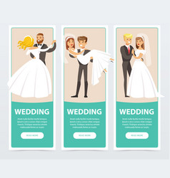 Brides in white wedding dress and grooms in black vector