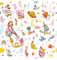 Cartoon comic characters fun seamless pattern vector