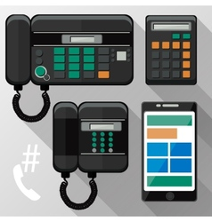 Cellphones landline phone and smartphone vector image