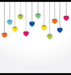 colorful heart hang background design vector image vector image