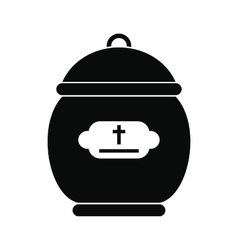 Cremation urn black icon vector