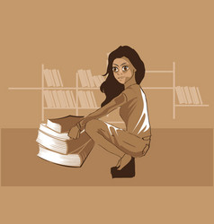 cute girl sitting in front of books in a library v vector image
