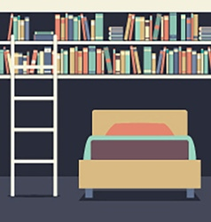 Flat Design Single Bed With Ladder On Bookshelves vector image