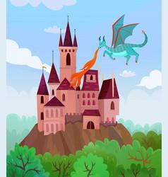 Flying dragon castle composition vector