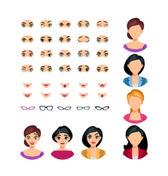 Girl face emotions constructor vector