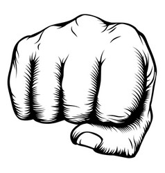 Hand in fist punching from front vector