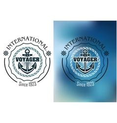 International voyager marine heraldic banner vector image