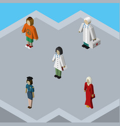 Isometric human set of doctor lady medic and vector