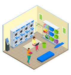 Laundry service and dry cleaning concept row of vector