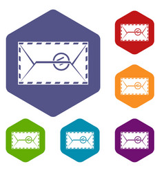 mail envelope with a stamp icons set hexagon vector image
