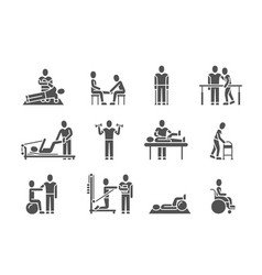 Medical physical therapy and people rehabilitation vector