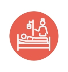 Nurse attending a sick patient thin line icon vector