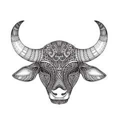 patterned head of the bull vector image vector image