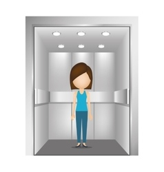 people in elevator design vector image vector image