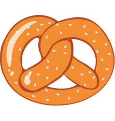 pretzel bread on white background vector image vector image