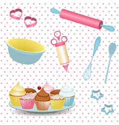 Retro baking equipment vector