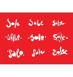 Sale inscription 9 set Hand drawn text Useful vector image
