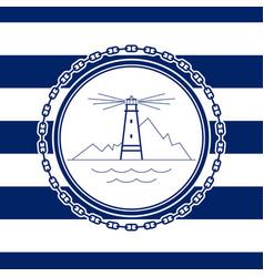 Sea emblem with lighthouse vector