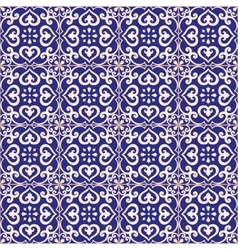 Seamless pattern azulejo dark blue vector
