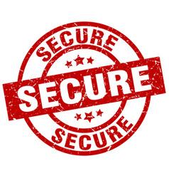 Secure round red grunge stamp vector