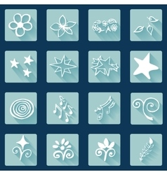 Set of doodle white icons abstract vector image vector image