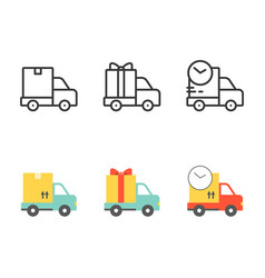 shipping and delivery truck vector image vector image