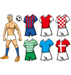 Soccer player with various jersey vector