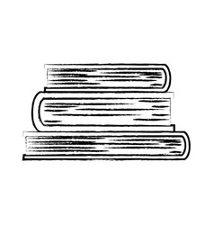 stacked books in black blurred contour vector image vector image