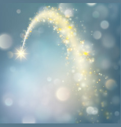 Stardust trail sparkling comet on bokeh vector