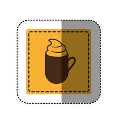 sticker yellow square with coffee cup with cream vector image vector image