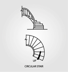 Top view and side view of a circular staircase vector