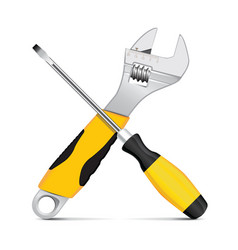 wrench and screwdriver vector image vector image