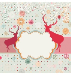 Vintage christmas deer pattern vector