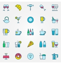 Colorful bar and cafe icons vector image